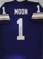 WARREN MOON SIGNED CUSTOM VIKINGS JERSEY W/ HOF - JSA