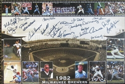 1982 BREWERS SIGNED 18x24 CANVAS W/ 20 SIGS - YOUNT MOLITOR FINGER SUTTON +