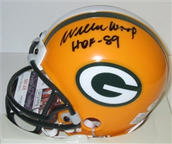 WILLIE WOOD SIGNED PACKERS MINI HELMET #2 W/ HOF '89 - JSA
