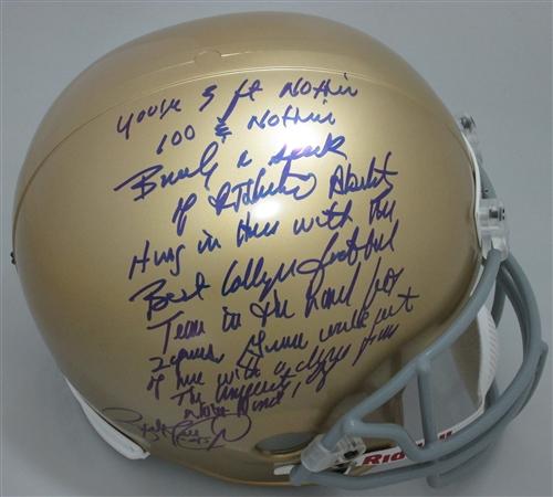 1b917cb5939 rudy ruettiger signed notre dame replica helmet w  5 ft nothin speech