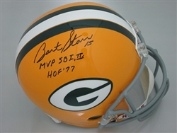 BART STARR SIGNED FULL SIZE REPLICA HELMET W/ 2 INSCRIPTIONS