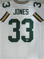 AARON JONES SIGNED CUSTOM PACKERS WHITE JERSEY - JSA
