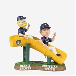 "CHRISTIAN YELICH BERNIE BREWER 2019 ""SLIDE"" FOREVER FOCO BREWERS BOBBLEHEAD"