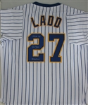 PETE LADD SIGNED CUSTOM BREWERS PINSTRIPE JERSEY
