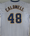 MIKE CALDWELL SIGNED CUSTOM BREWERS PINSTRIPE JERSEY