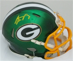 AARON RODGERS SIGNED PACKERS BLAZE MINI HELMET