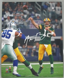 AARON RODGERS SIGNED 16X20 STRETCHED PACKERS CANVAS #1