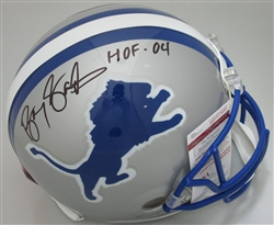 BARRY SANDERS SIGNED FULL SIZE AUTHENTIC LIONS HELMET W/ HOF - JSA