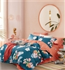 Scarlet Blue/Pink Floral 100% Cotton Reversible Comforter Set