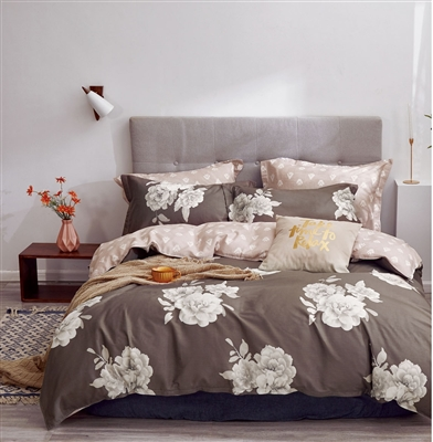 Marrisa Brown Floral 100% Cotton Reversible Comforter Set