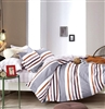 Denver Gray/Brown Striped 100% Cotton Comforter Set