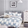 Hampton Blue Damask 100% Cotton Comforter Set Queen/Full