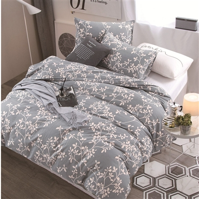 Lana Gray Floral 100% Cotton  Comforter Set