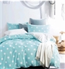Clara Blue Polka Dots 100% Cotton Double Layer Yarn Comforter Set