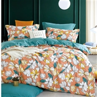 Bohemian Leila Orange Floral 100% Cotton Reversible Comforter Set