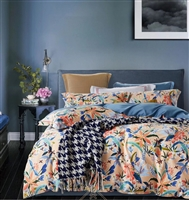 Alice Orange Floral 100% Cotton Sateen Comforter Set