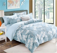 Luara Blue Floral 100% Cotton Reversible Comforter Set