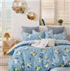 Quinn  Blue Floral 100% Cotton Comforter Set Queen/Full