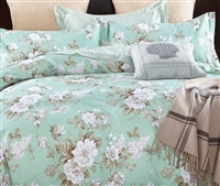 Fiona Green Floral 100% Cotton Comforter Set
