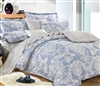 Lauren Blue Damask 100% Cotton Comforter Set