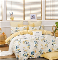 Moore Yellow Dandelion 100% Cotton Reversible Comforter Set
