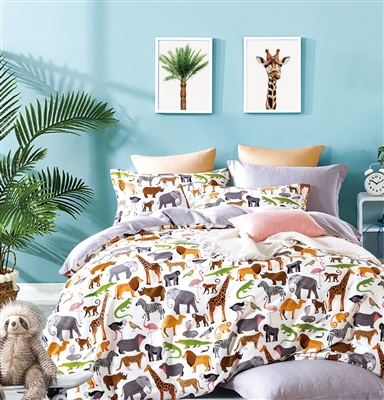 Fun Kids 100% Cotton Animal Print Reversible Comforter Set
