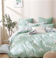 Bianca Green/White Floral 100% Cotton Reversible Comforter Set