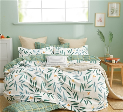 Juliette Green /White 100% Cotton Reversible Duvet Cover Set Queen/Full