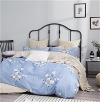 Elora Blue Floral 100% Cotton Reversible Comforter Set