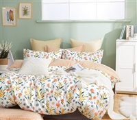 Estella Orange Floral 100% Cotton Reversible Comforter Set