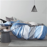 Mayvon Blue Striped 100% Cotton Duvet Cover Set Queen/Full