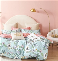 Marceau Blue Floral 100% Cotton Reversible Comforter Set