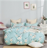 Brigitte Blue Floral 100% Cotton Reversible Comforter Set
