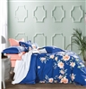 Elizebath Blue Floral 100% Cotton Reversible Comforter Set