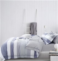 Wilhelm Blue Striped 100% Cotton Reversible Comforter Set