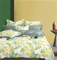Linnett Yellow /Green Pine leaves 100% Cotton Reversible Comforter Set