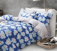 Emerson Blue Floral 100% Cotton Reversible Comforter Set
