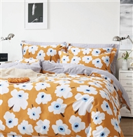 Emerson Orange Floral 100% Cotton Reversible Comforter Set