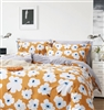 Emerson Orange Floral 100% Cotton Reversible Duvet Cover Set Queen/Full