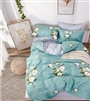Birdsong Blue Floral 100% Cotton Duvet Cover Set Queen/Full