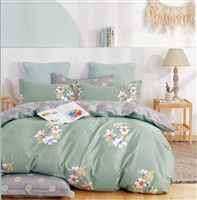 Kaufman Lily 100% Cotton Reversible Comforter Set Green