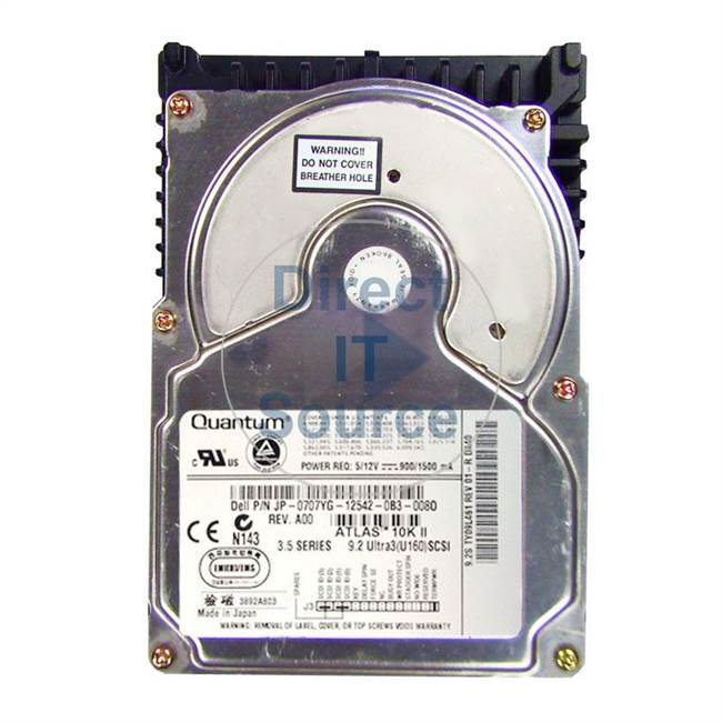 "0707YG Dell - 9.2GB 10K 3.5"" Cache Hard Drive"