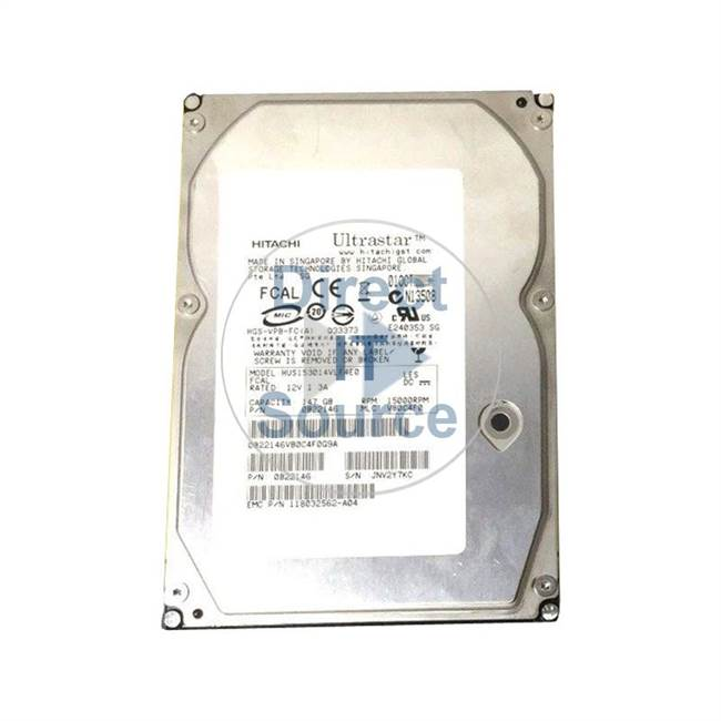 "0B22146 Hitachi - 147GB 15K Fibre Channel 3.5"" Cache Hard Drive"