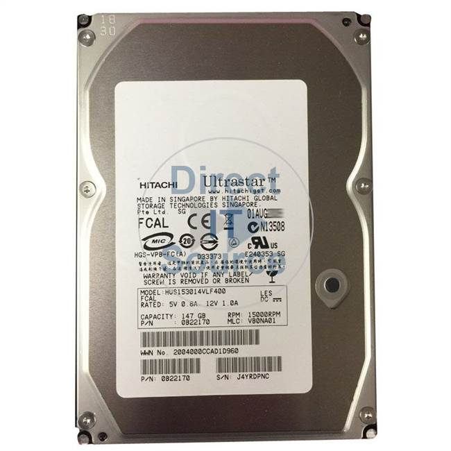 "0B22170 Hitachi - 146GB 15K Fibre Channel 3.5"" Cache Hard Drive"