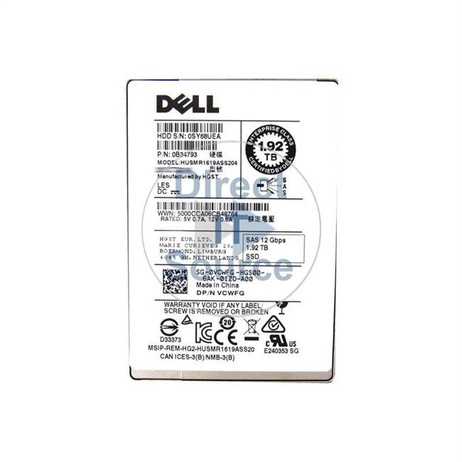 "0VCWFG Dell - 1.92TB SAS 12Gbps 2.5"" Cache Hard Drive"