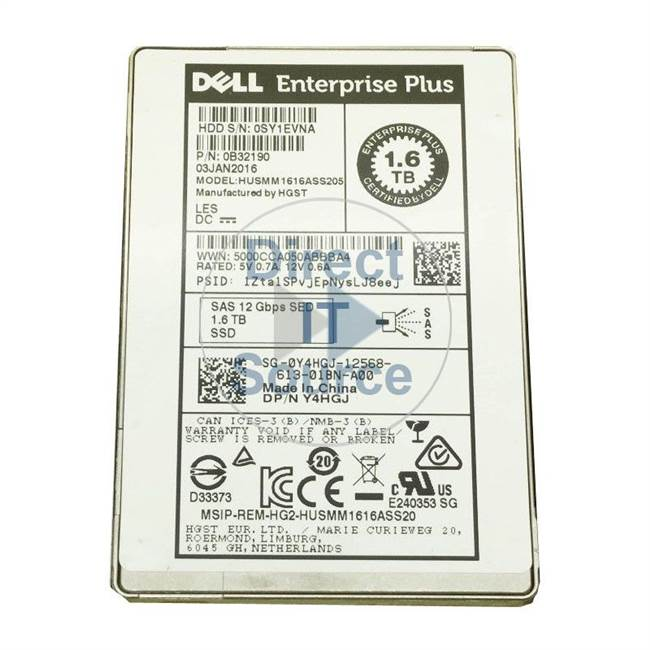 "0Y4HGJ Dell - 1.6TB SAS 12Gbps 2.5"" Cache Hard Drive"