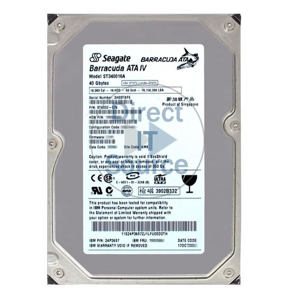 "IBM 24P3697 - 40GB 7.2K IDE 3.5"" 2MB Cache Hard Drive"