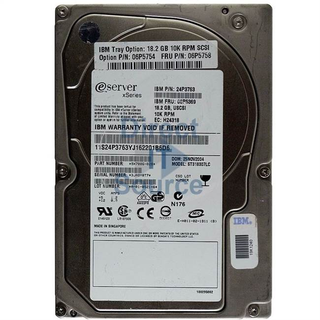 IBM 24P3763 - 18GB 10000RPM Ultra160 Hot Plug Hard Drive