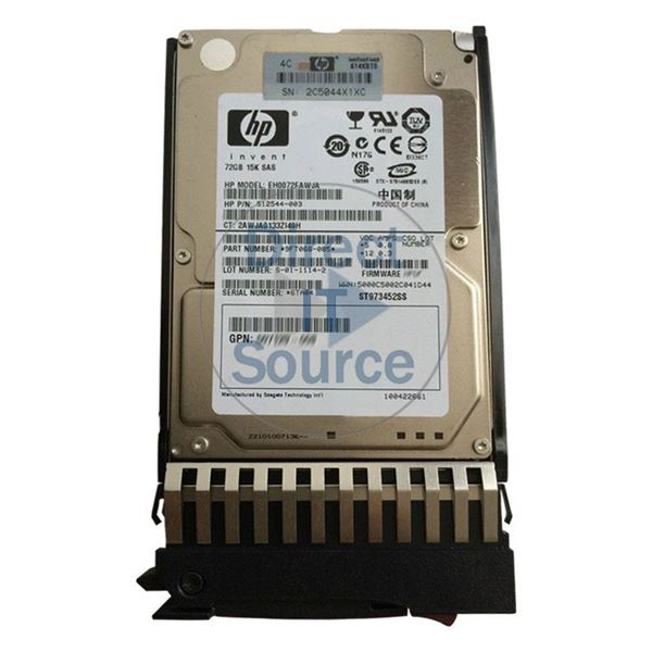 "HP 512544-003 - 72GB 15K SAS 6.0Gbps 2.5"" Hard Drive"