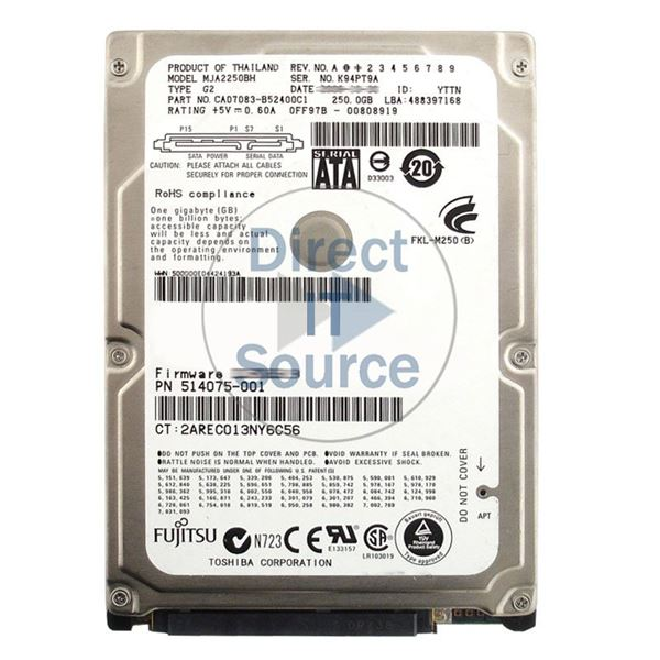 "HP 514075-001 - 250GB 5.4K SATA 2.5"" Hard Drive"